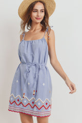 Embroidered Hem Beaded String Sleeveless Dress