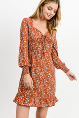 Small Corduroy Button Down Ruffled Hem Dress