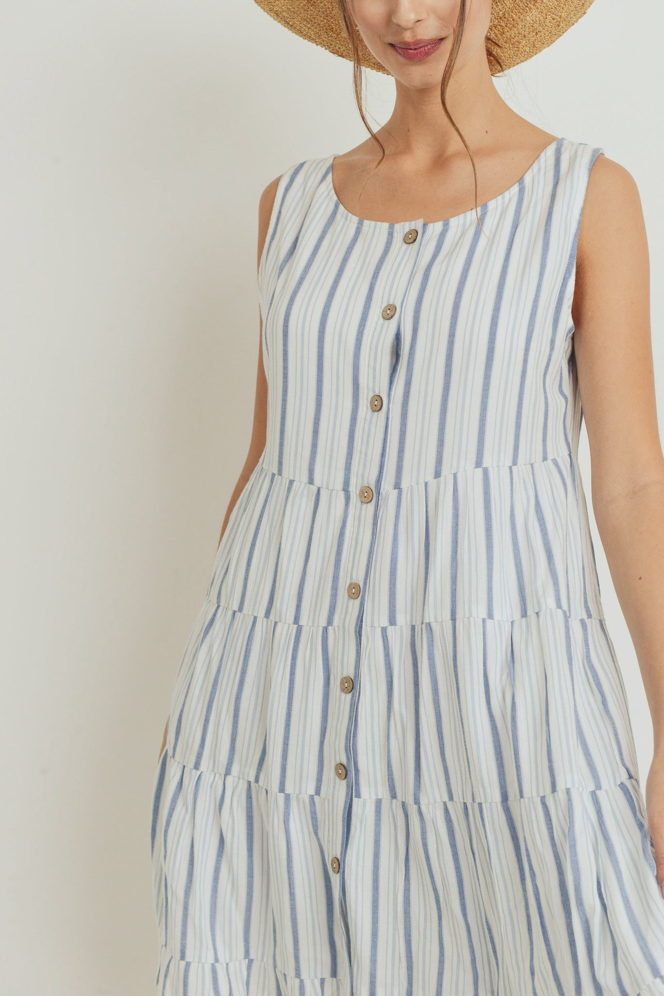 Cancan Round Neck Sleeveless Stripe Dress