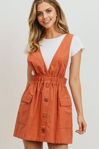 V Neck Buttoned Sleeveless Dress