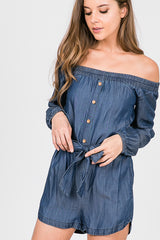 Off The Shoulder Button Down Waist Band Romper