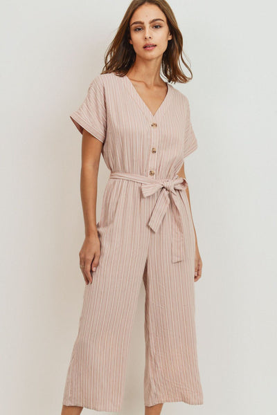Striped Buttoned Waist Tie Short Sleeve Jumpsuit