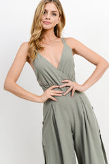 Overlapped Button Down Side Cross Back Jumpsuit