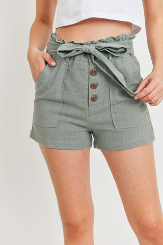 Front Tie Lateral Pocket Shorts