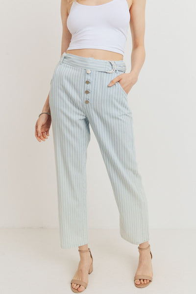 Striped Buttoned Waist Belt Pants