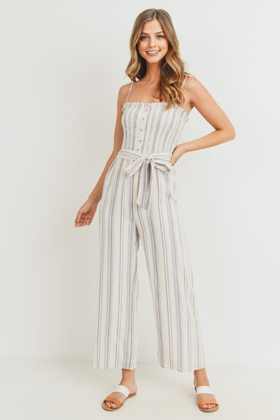 Multi Stripe Smocking With Button Self Tie Waist Jump Suit