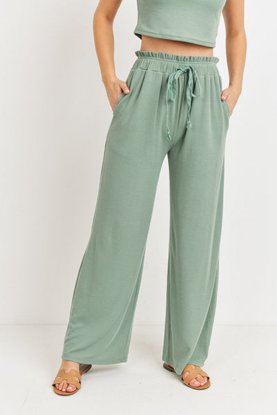 Rib Fabric With Waist String Side Pockets Long Pants