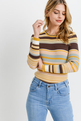 Striped Ribbed Long Sleeves Top