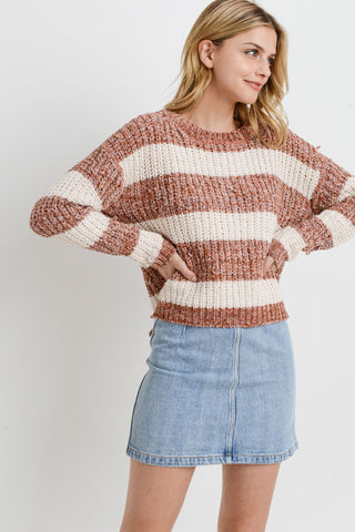 Striped Knit Long Sleeves Sweater