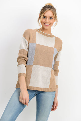 Knit Checkered Round Neck Sweater