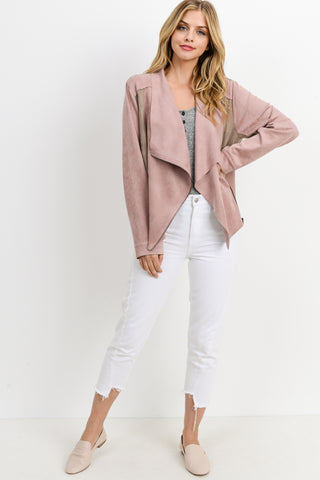 Color Blocked Suede Zipper Front Jacket