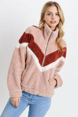 Fur Colorblock Kangaroo Pocket Jacket
