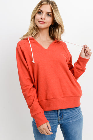 V-Neck Long Sleeves Hoodie