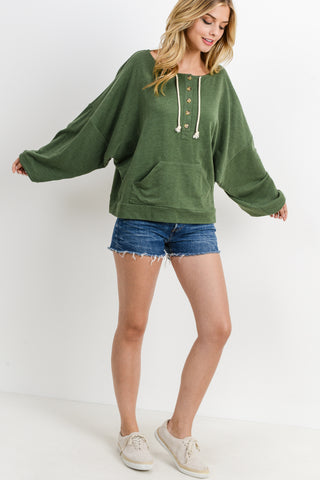 Button Down Kangaroo Pocket L/S Hoodie Top