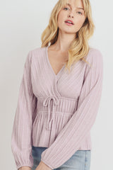 Textured Knit Surplice Front Waist Tied Long Sleeve Top