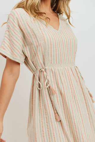 Striped Trimmed Short Sleeve Dress