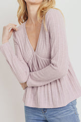 Textured Knit V Neck Gathered Long Sleeve Top