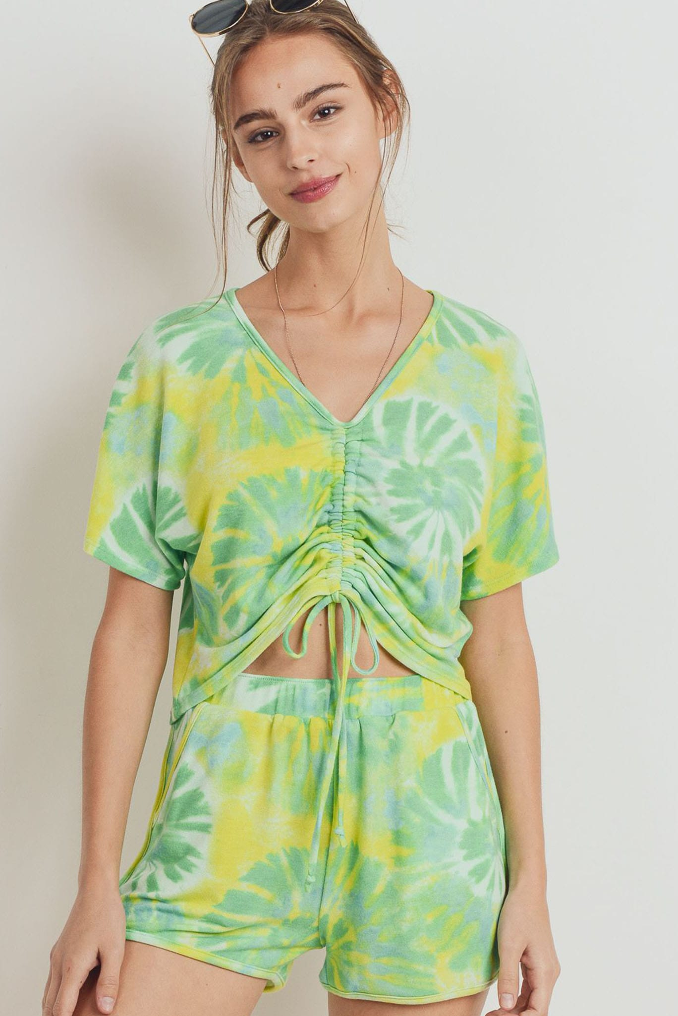 Tie Dye Terry Front Gathered Short Sleeve Top