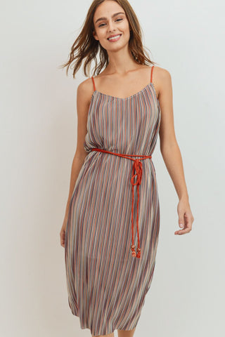 Stripe Waist Rope Strap Dress