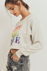 Rainbow Embroidery Crop Top Long Sleeve Sweater