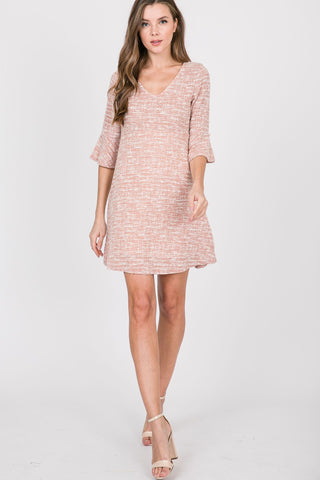 Tweed V-Neck Ruffle Sleeve Dress