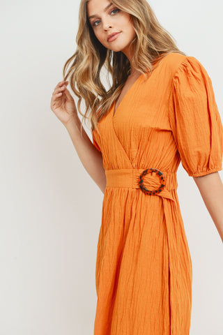 Short Sleeve Textured Wrap Belt Midi