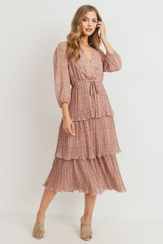 Pleated 3 Tier Midi