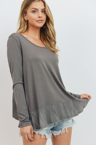 Ruffled Hem Round Neck Top