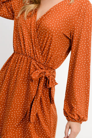 Polka Dot Crossover Front Side Tie Dress