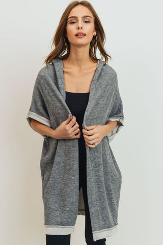 Over Sized Knit Cardigan With Hoodie