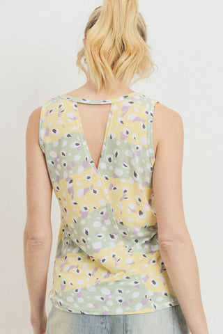 Printed Terry Back Opened Sleeveless Top