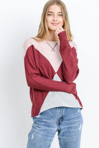 Color Block Dolman Top