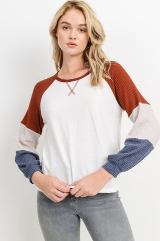 French Terry Color Block Raglan Top