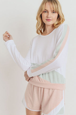 French Terry Color Block Long Sleeve Top