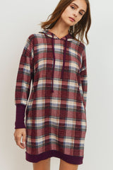 Brushed Check Knit Hoodie Tunic With Pocket