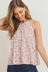 Floral High Neck Tank Top