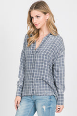 Long Sleeves Plaid Burnout Top