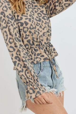 Brushed Cheetah Print Long Sleeves Top