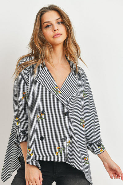 Long Sleeve Embroidered Gingham Peacot