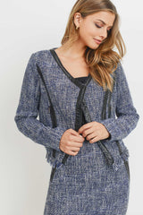 Tweed Jacket W/ Contrast PU
