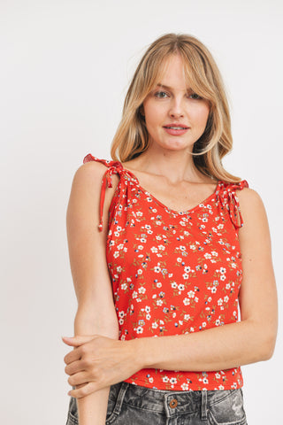 Shoulder Ruffle Tie Floral Top