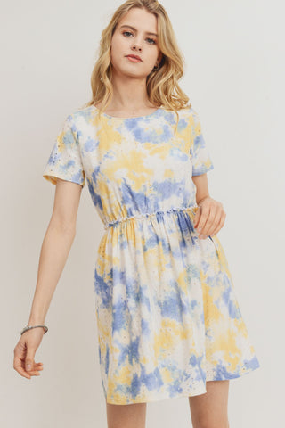 Tie Dye Punching Lace Waist Gathered Dress