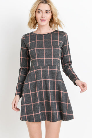 Grid Printed Long Sleeve Dress