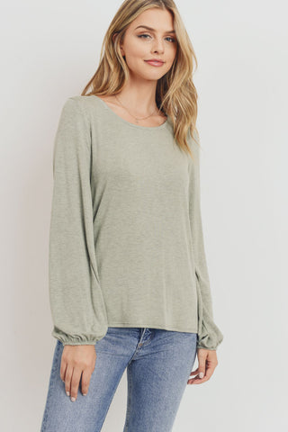 Jersey Back Tie Long Sleeve Top