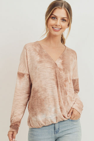 Tie Dye Knit Surplice Long Sleeve Top