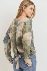 Tie Dye Knit with Back Open Waist Band Long Sleeve Top