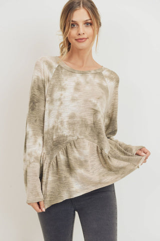 Tie Dye Knit Raglan Raw Edge Top
