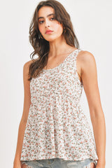 Textured Floral Knit With Can Can Sleeveless Top
