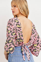 Leopard Knit Back Opened Short Sleeve Top