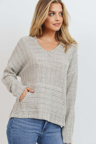 Multi Striped Knit Hooded Kangaroo Pocket L/S Top